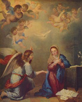 Painting of the Annunciation with Mary surrounded by angels.