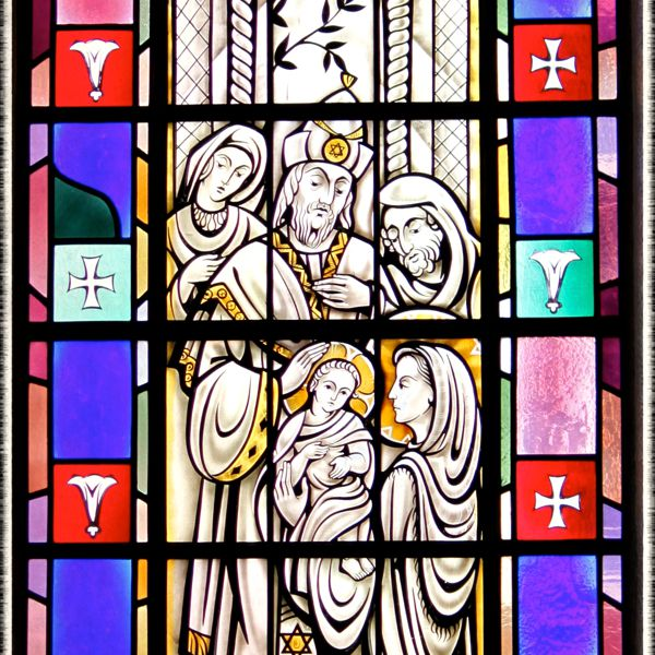 Stained-glass window of the Presentation in St. Mary's Church, Painesville, OH. (© Scott P. Richert)
