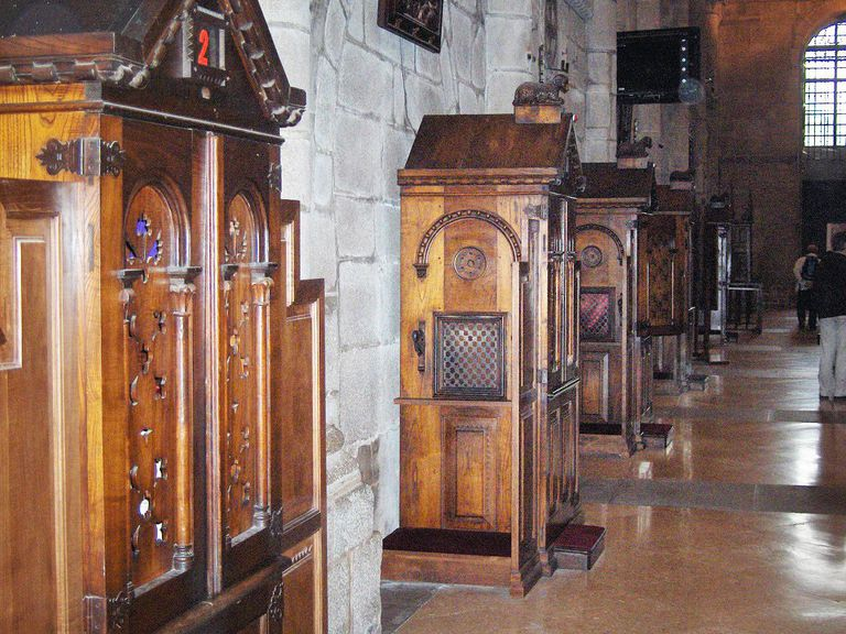 Confessionals in the cathedral of Santiago de Compostela, Spain
