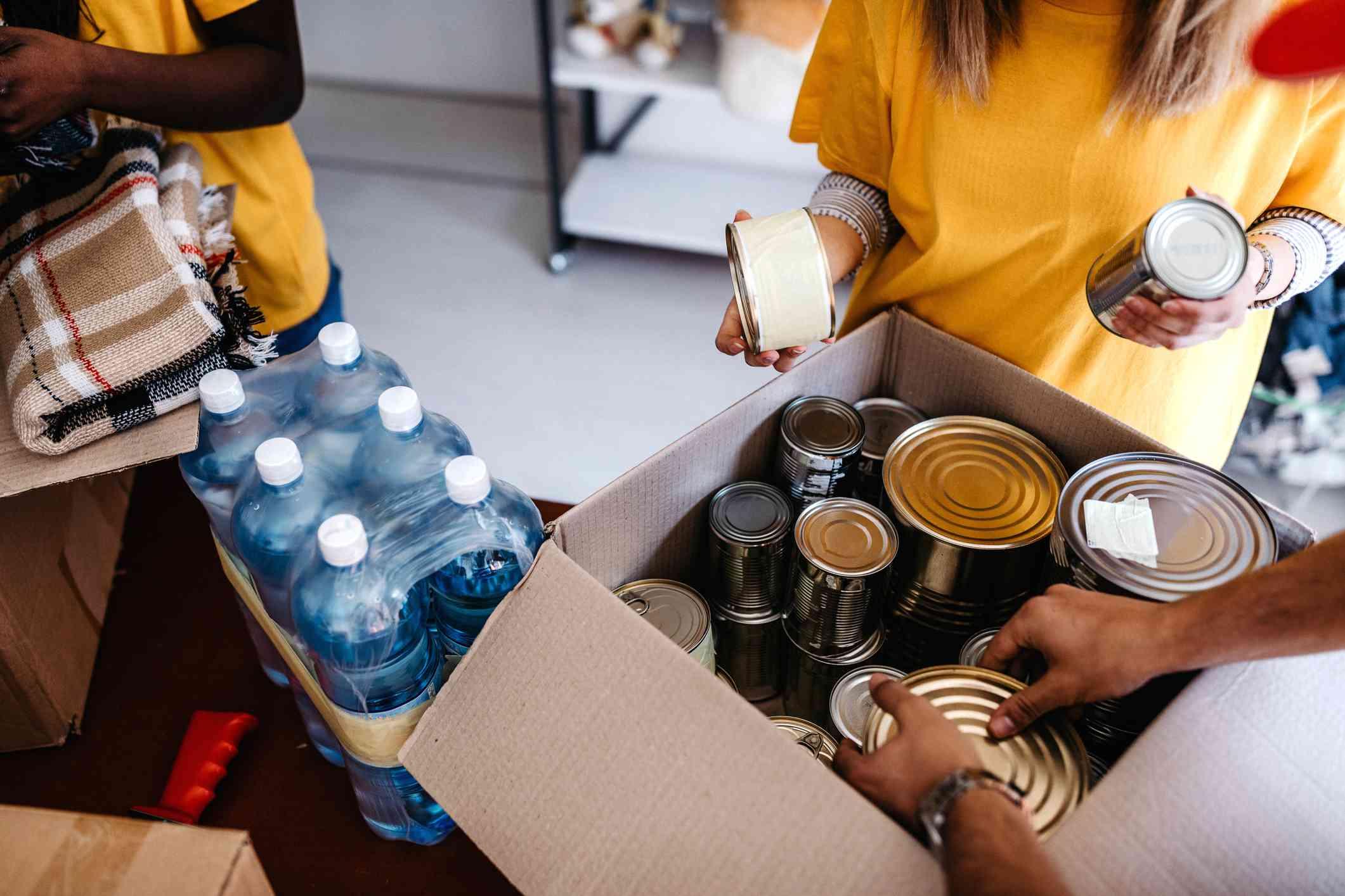 Generous people helping poor people