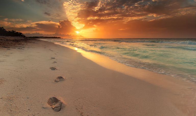 Footprints in the sand on a beach at sunset