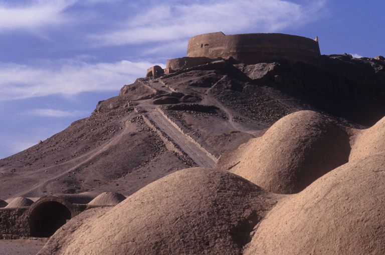 A Zoroastrian Tower of Silence (Dakhma), near Yazd, Iran, traditionally used for the ritual exposure of the dead to the sun and birds of prey