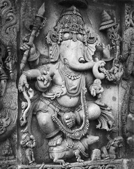 Lord Ganesh is carried by a mouse
