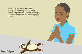 A young girl praying, with the following prayer text: