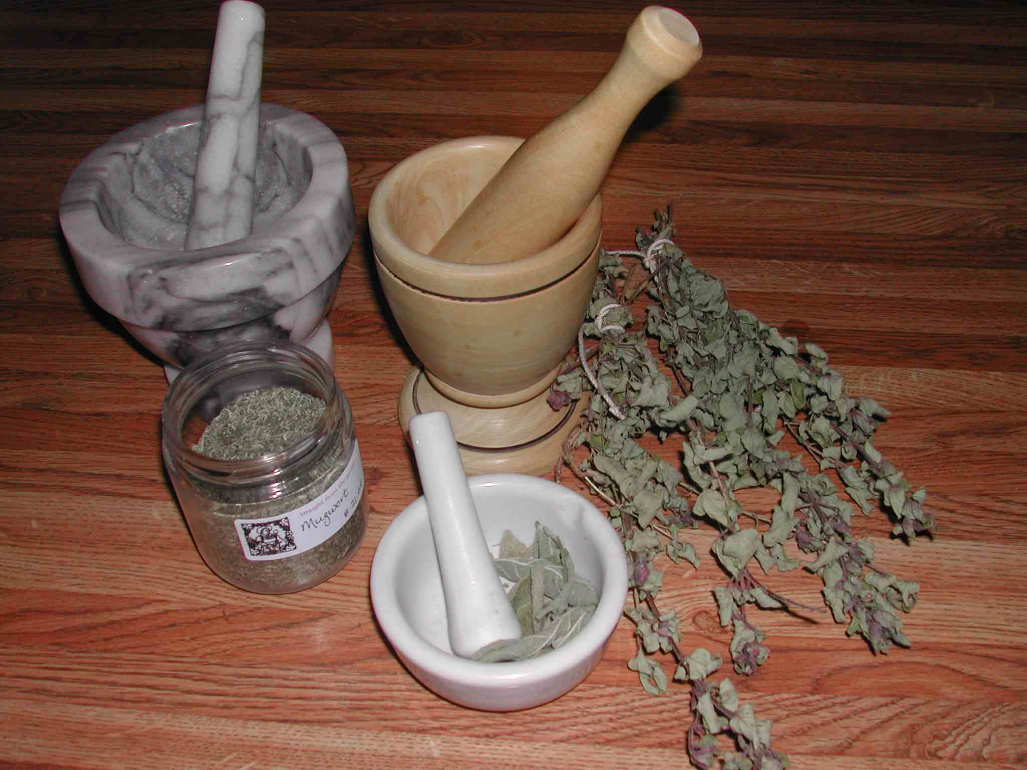 Herbs in mortar and pestle