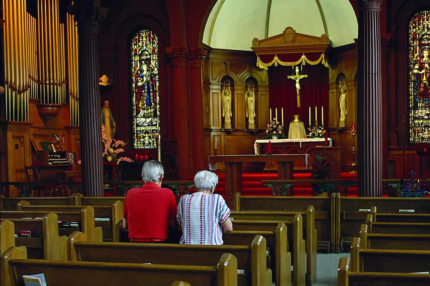 Mature couple in church