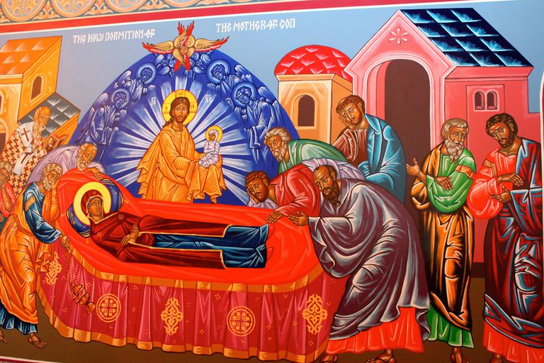 The Dormition, Annunciation Byzantine Catholic Church, Homer Glen, IL. (Photo © Scott P. Richert)