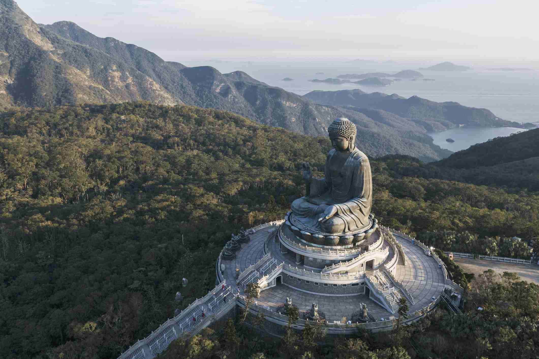 aerial view of Tian Tian Buddha