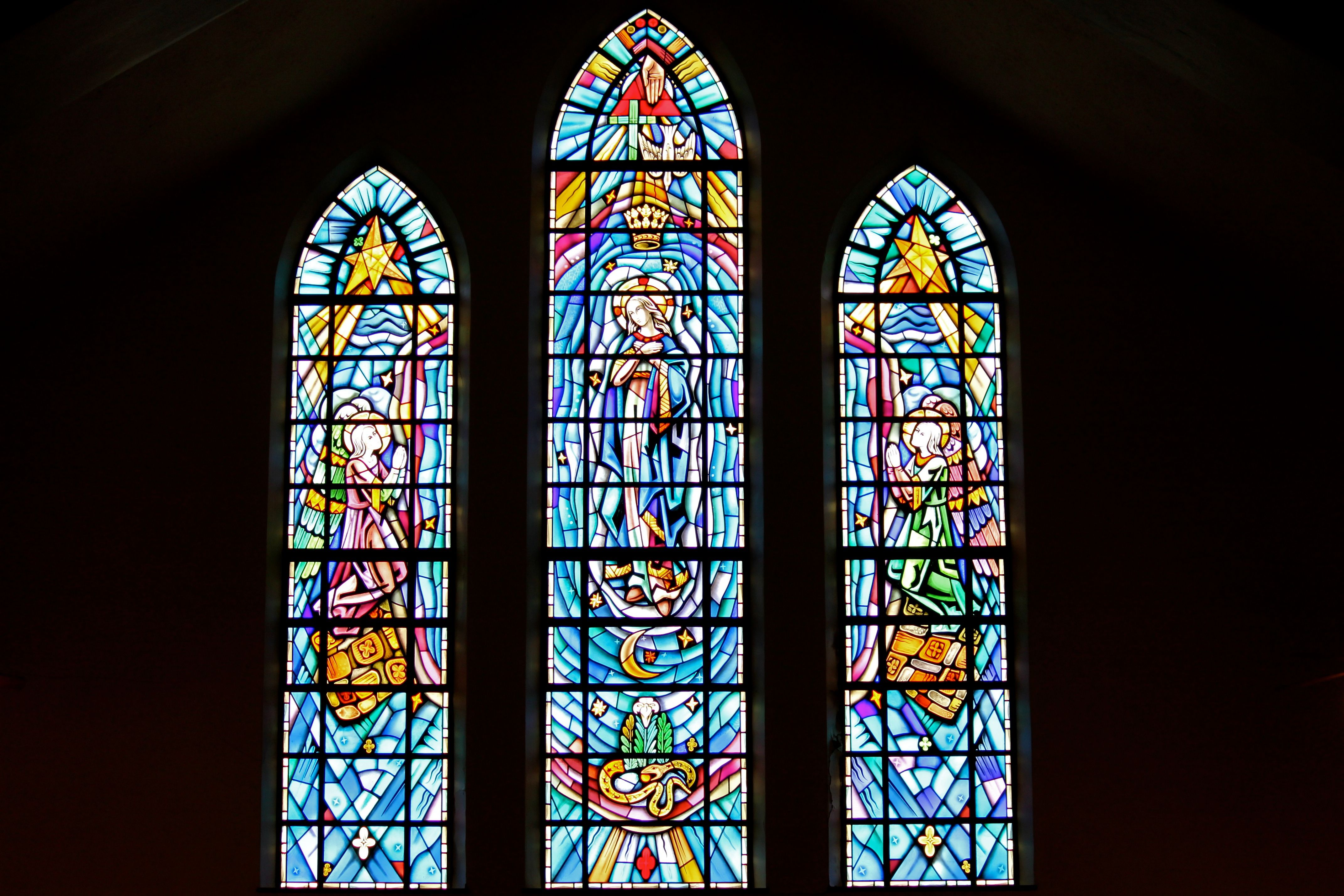 Stained-glass window of the Coronation in Saint Mary's Church, Painesville, OH. (© Scott P. Richert)
