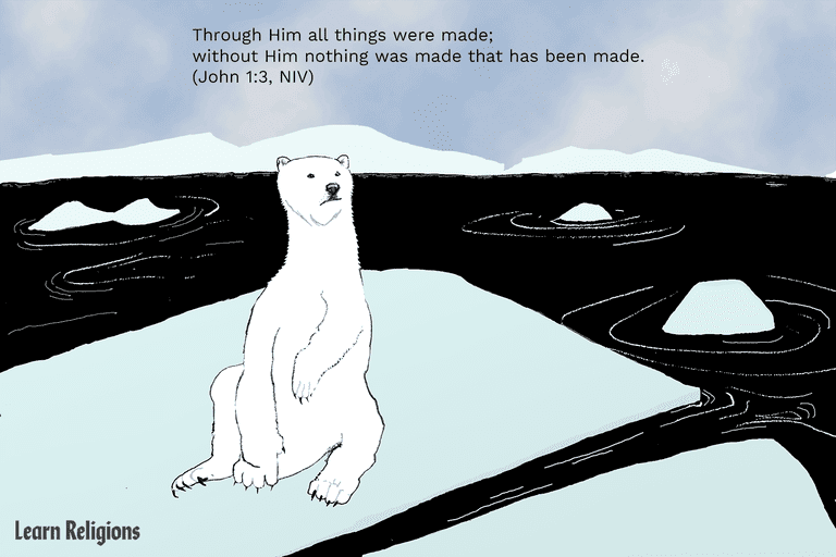A polar bear sits on a melting iceberg with the following Bible verse superimposed over the scene: Through Him all things were made; without Him nothing was made that has been made. (John 1:3, NIV)
