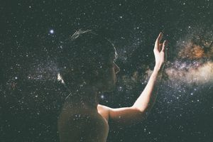 Man Touching Starry Sky.