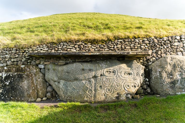 Ancient engravings on stone in Newgrange, Ireland