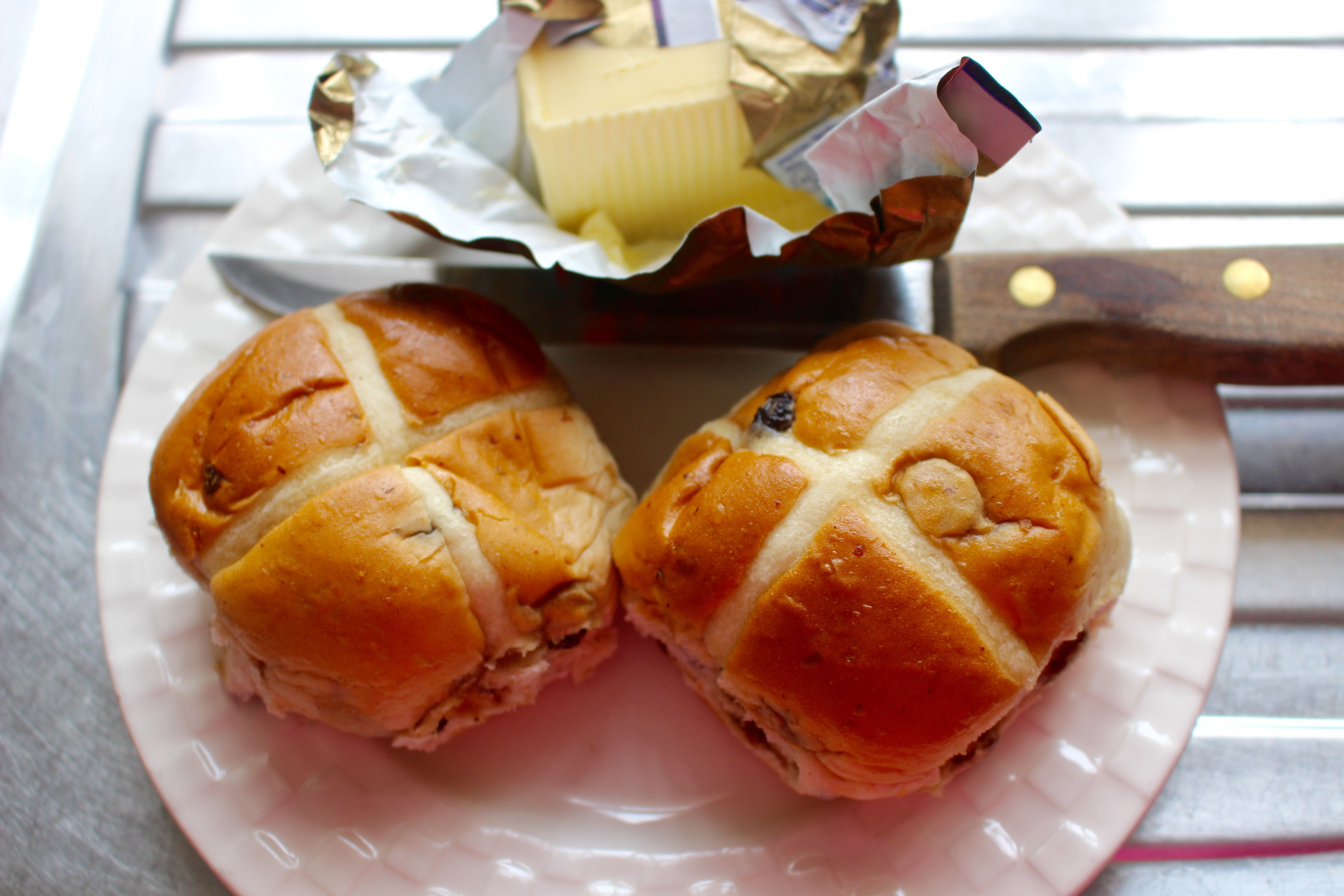 High Angle View Of Hot Cross Buns In Plate On Table