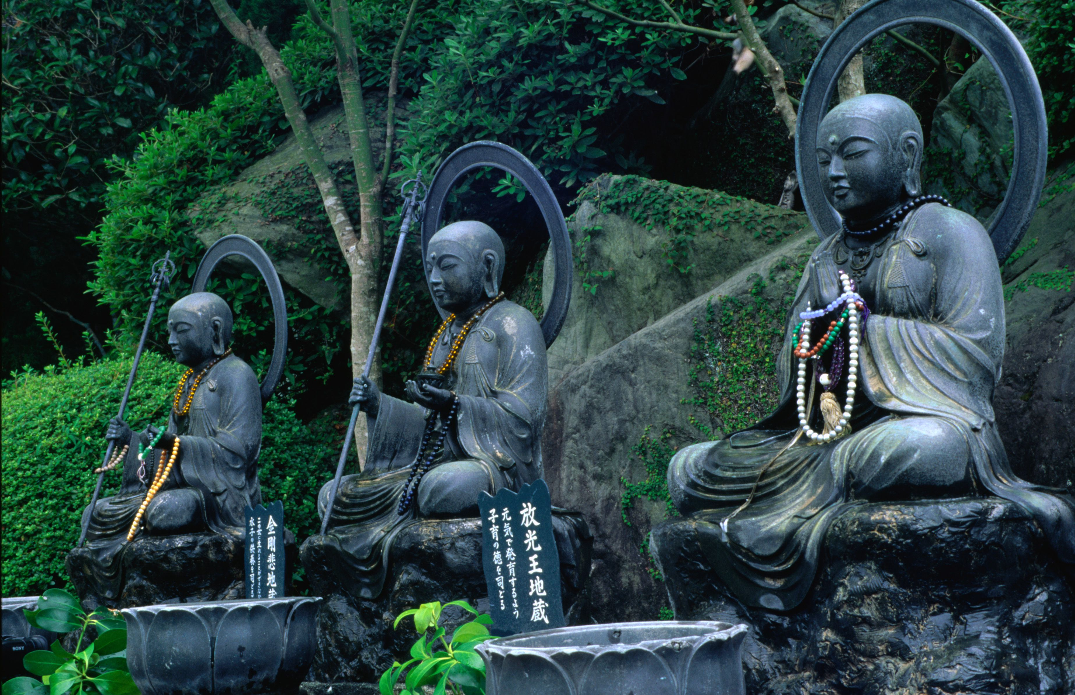 Statues depicting the disciples of the Buddha at Daigan-ji, a temple in Japan.
