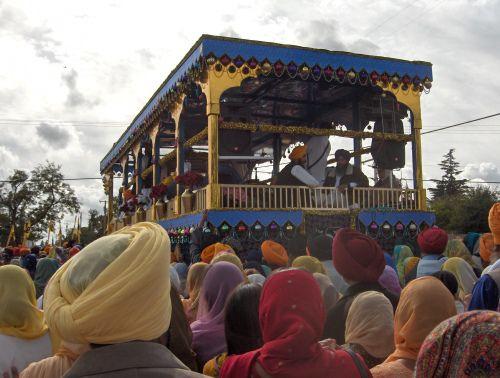 Rearview of the Guru Gadee Float Bearing the Guru Granth Sahib