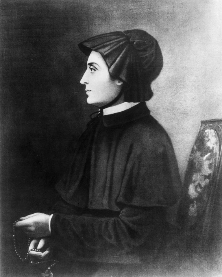 Portrait of Elizabeth Seton holding prayer beads.