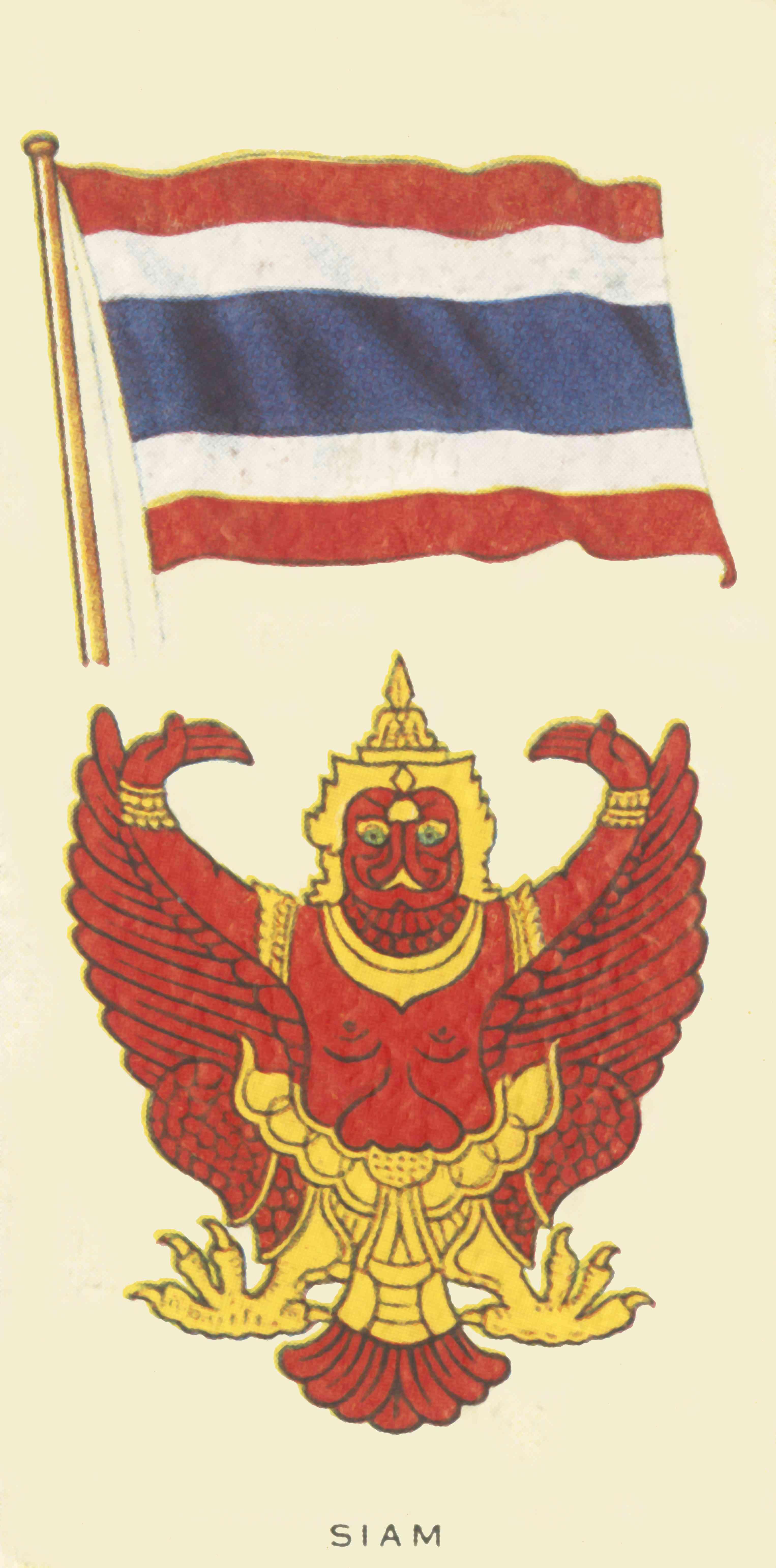 Garuda emblem and the Thai flag