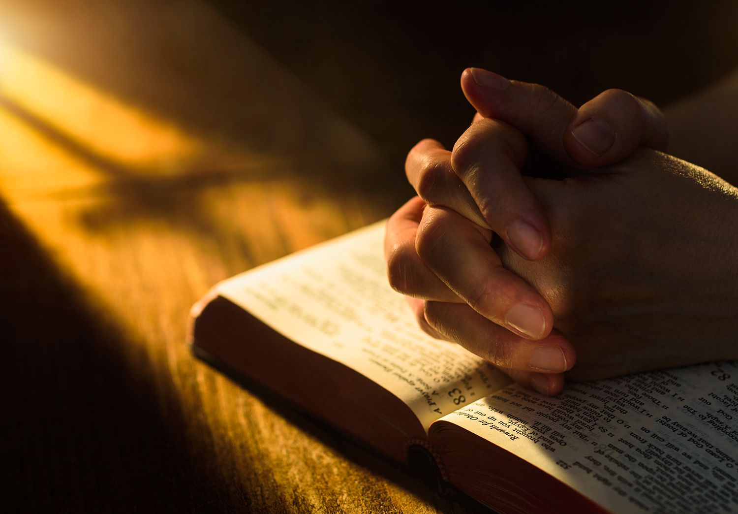 Close up of hands clasped on open Bible.