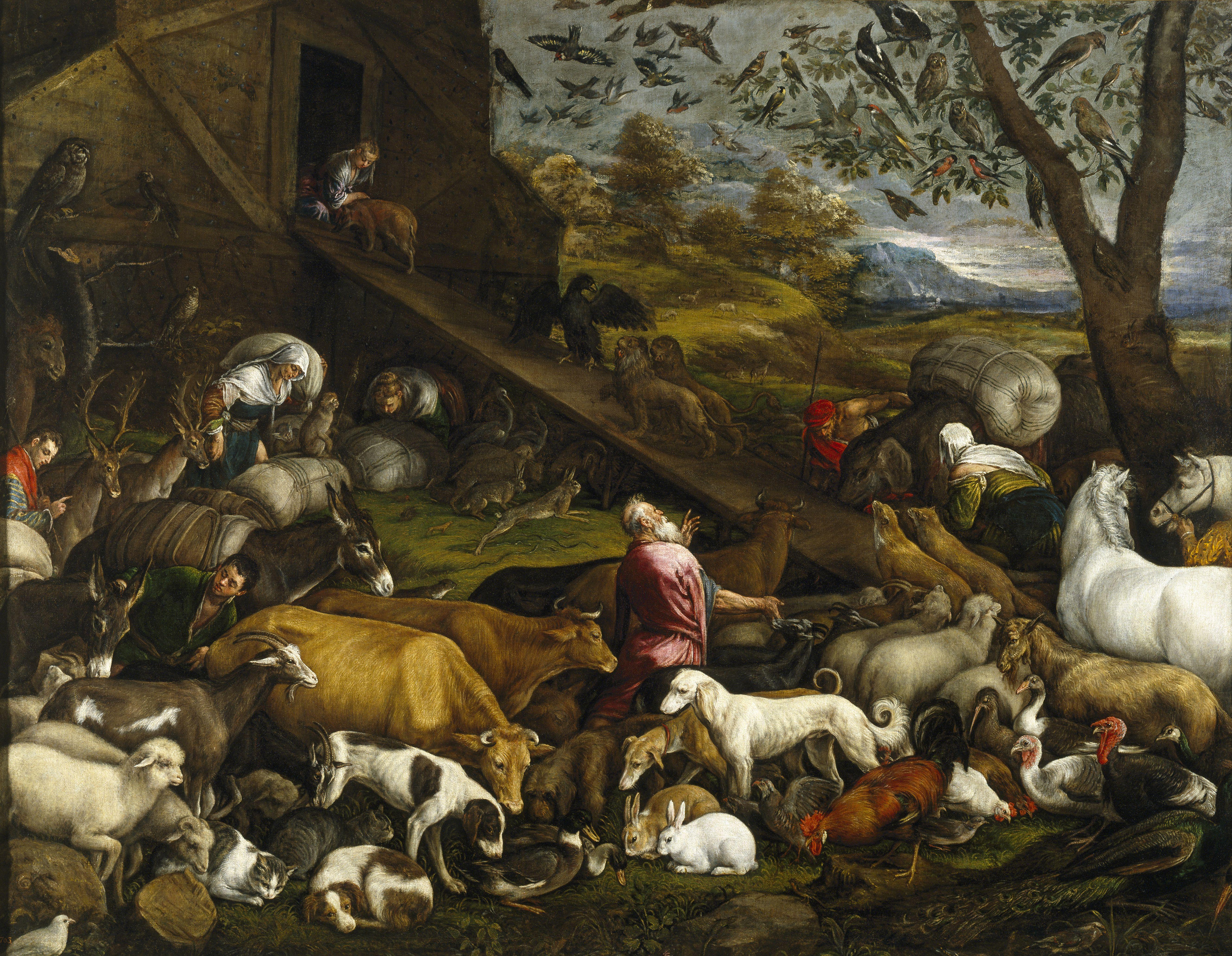 The Animals Board Noah's Ark. Artist: Bassano, Jacopo, il vecchio (ca. 1510-1592)