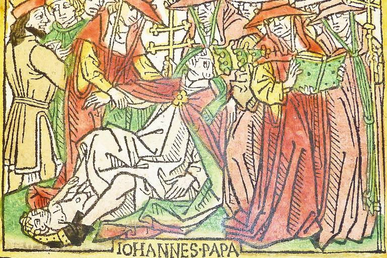 Woodcut illustration (leaf [p]4r, f. cxxxiiii) of Pope Joan, hand-colored in red, green, yellow and black, from an incunable German translation by Heinrich Steinhöwel of Giovanni Boccaccio's De mulieribus claris, printed by Johannes Zainer at Ulm ca. 1474.