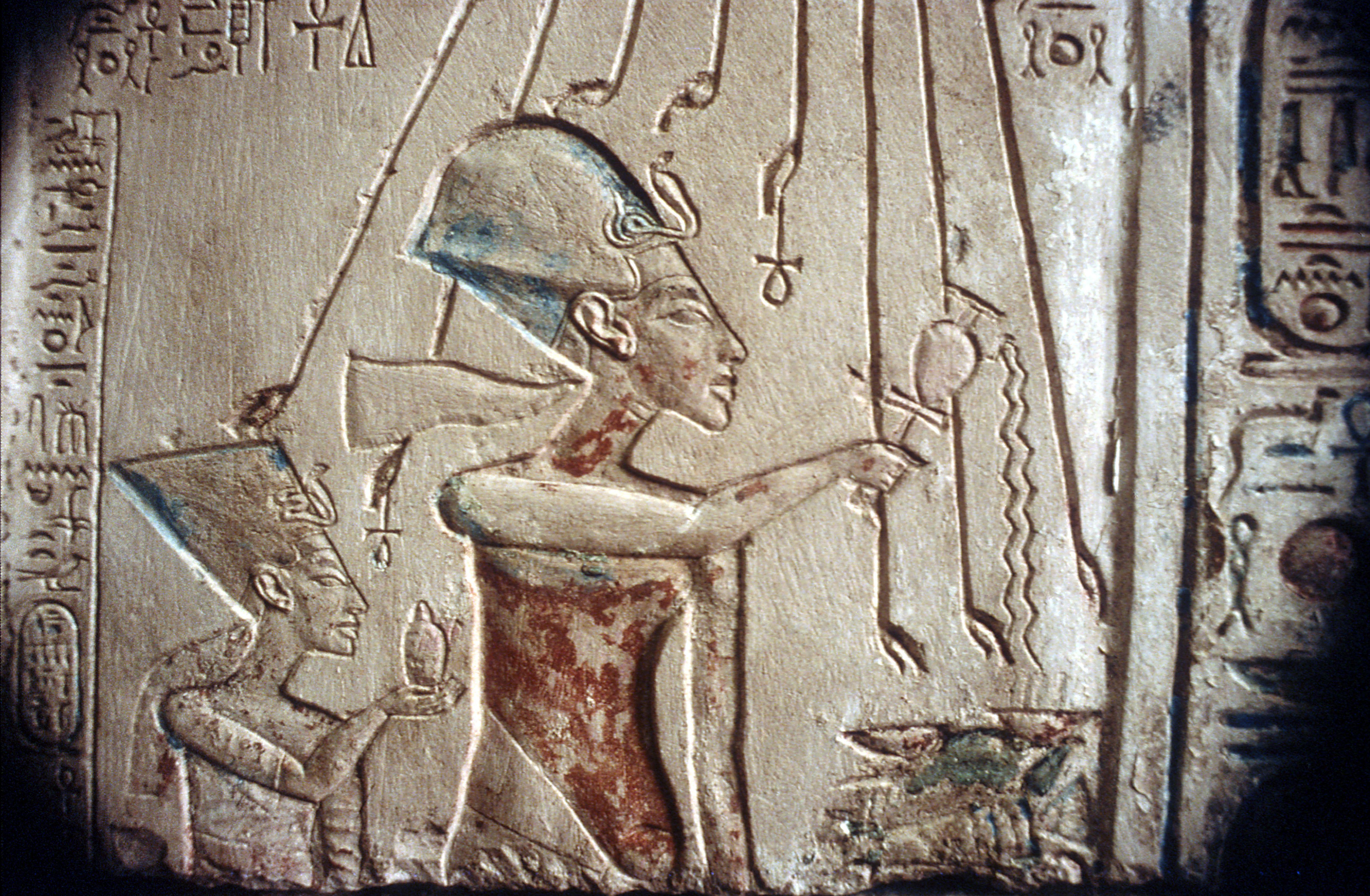 Relief of Akhenaten and Nefertiti under the rays of the sun-god Aten, Egyptian Museum, Cairo