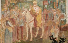 St Ambrose on horseback blessing Arcumeggia, 1966, fresco by Aldo Carpi, Arcumeggia, Lombardy, Italy, 20th century