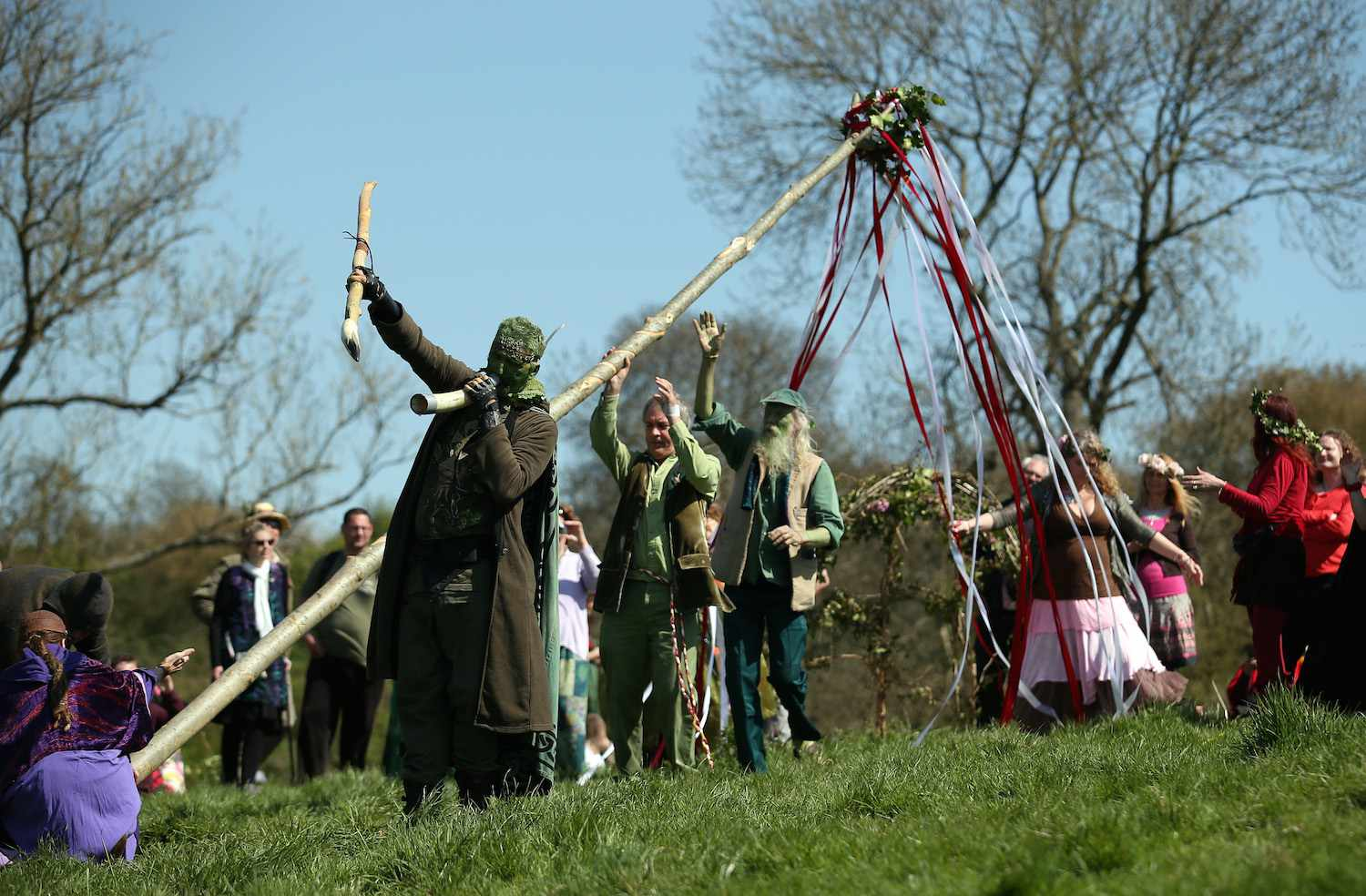 Many parts of Germany and Britain still erect a Maypole each year.