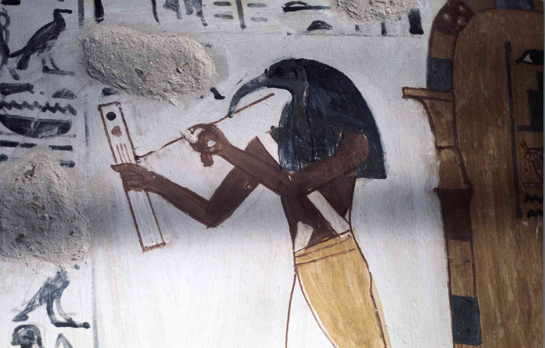 Thoth in color, with writing tools