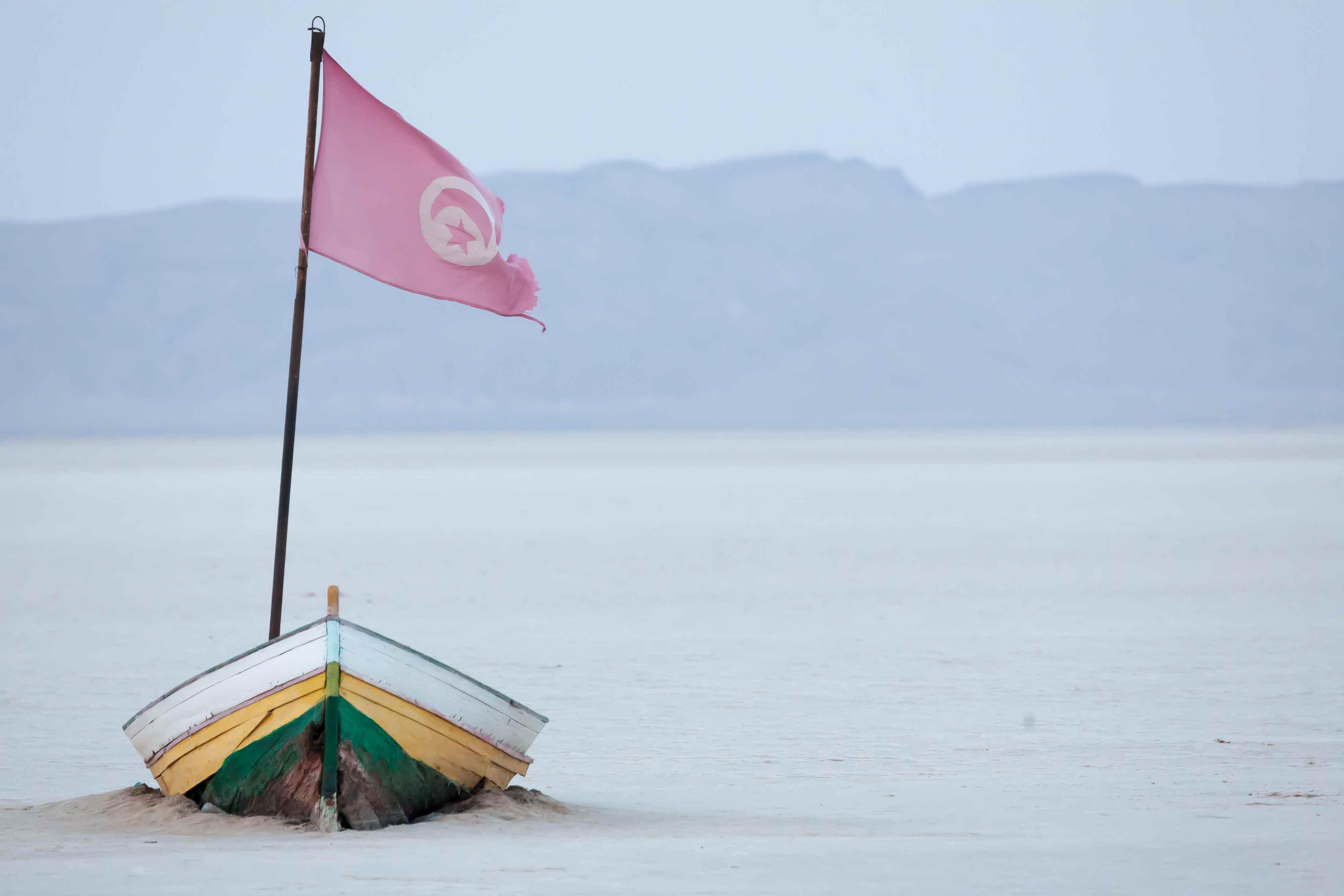 Flag On Boat At Chott El Djerid
