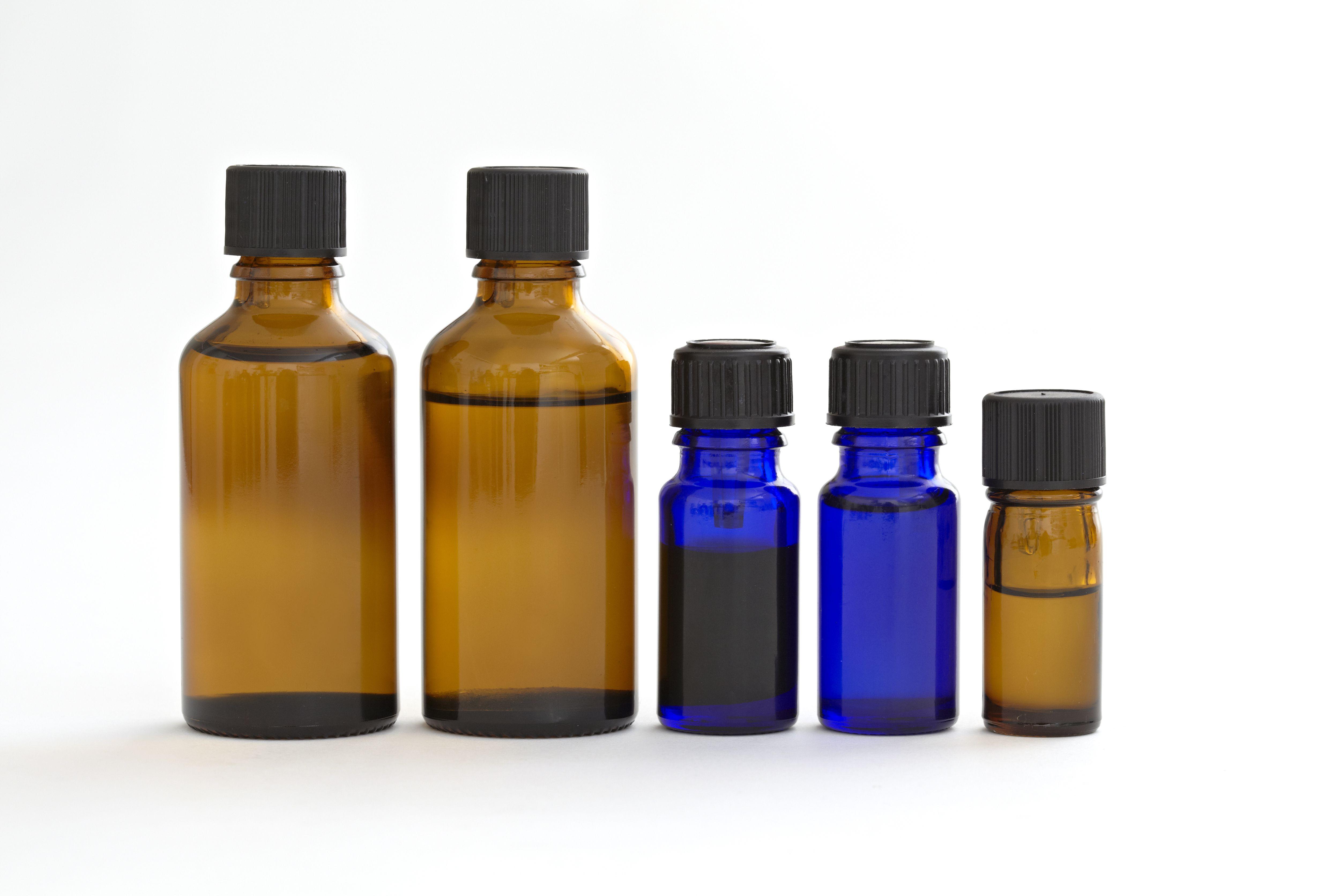 Essential oils in glass bottles