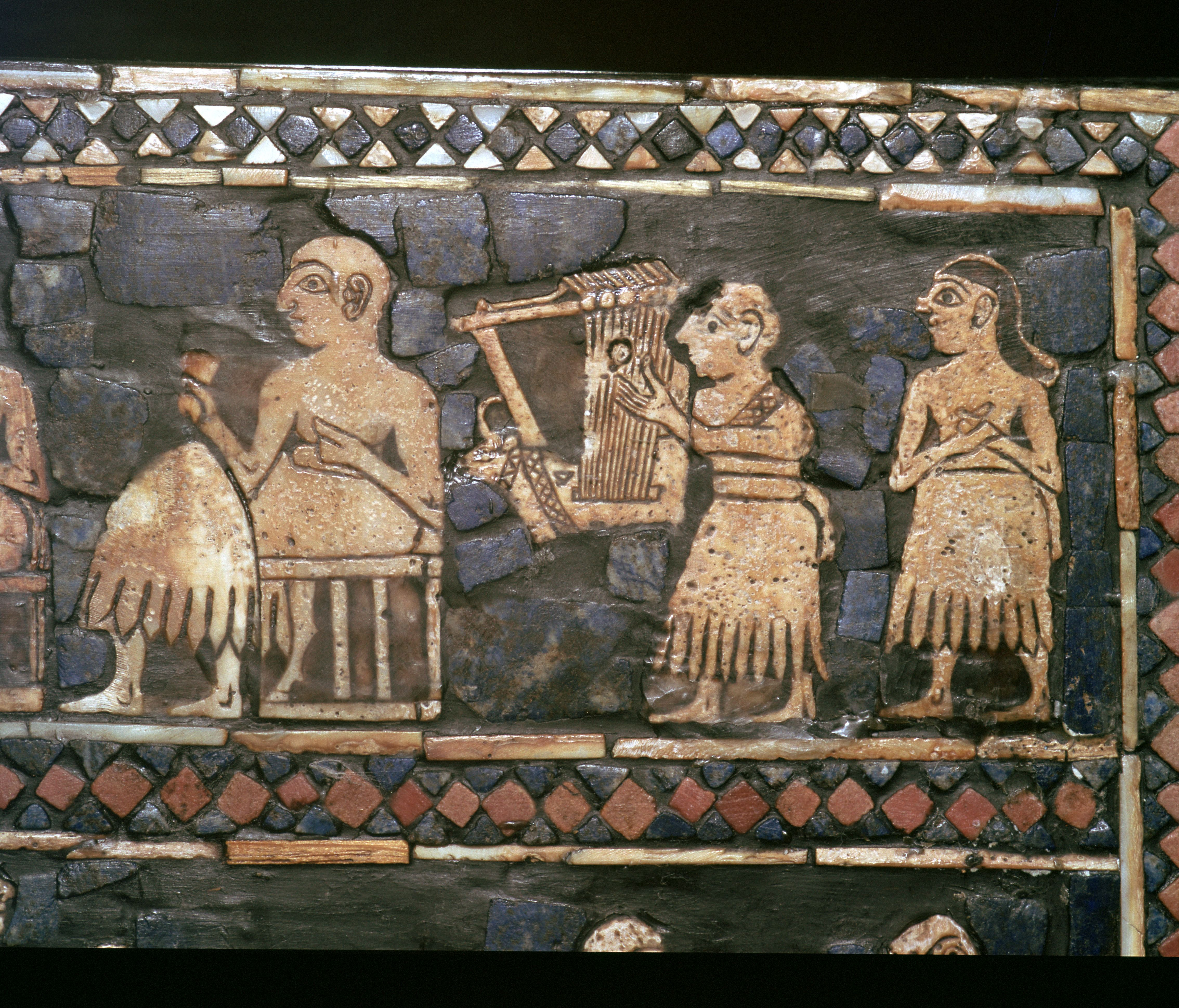 Detail of the standard of Ur showing a Sumerian Harpist and a Ruler, about 2600-2400 BC.