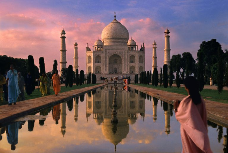 Visitors at India's Taj Mahal at Dusk