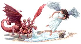 Red Dragon of Revelation and Winged Angel