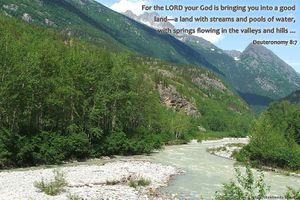 Land with Streams nature photo with bible verse