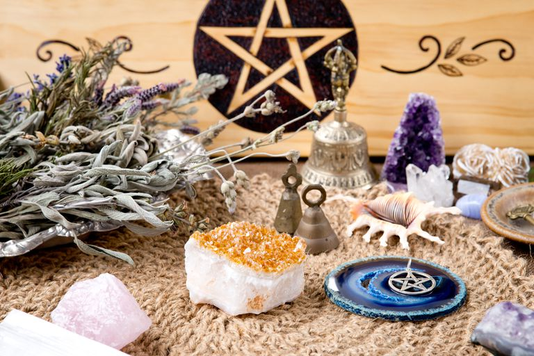 Witch Altar decorations - with pentacle, herbs and crystals