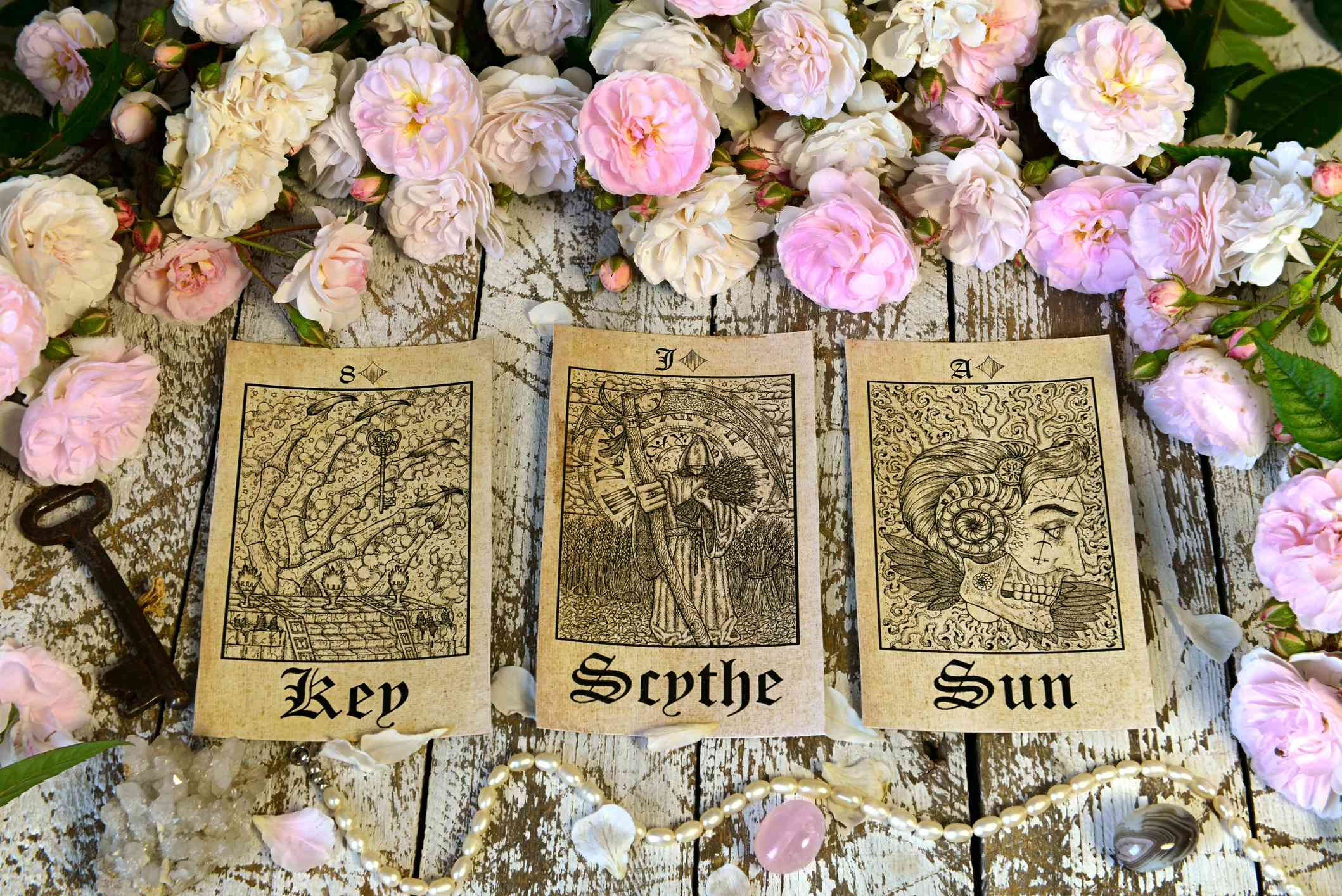 Still life with tarot cards, Lenormand oracle ritual.