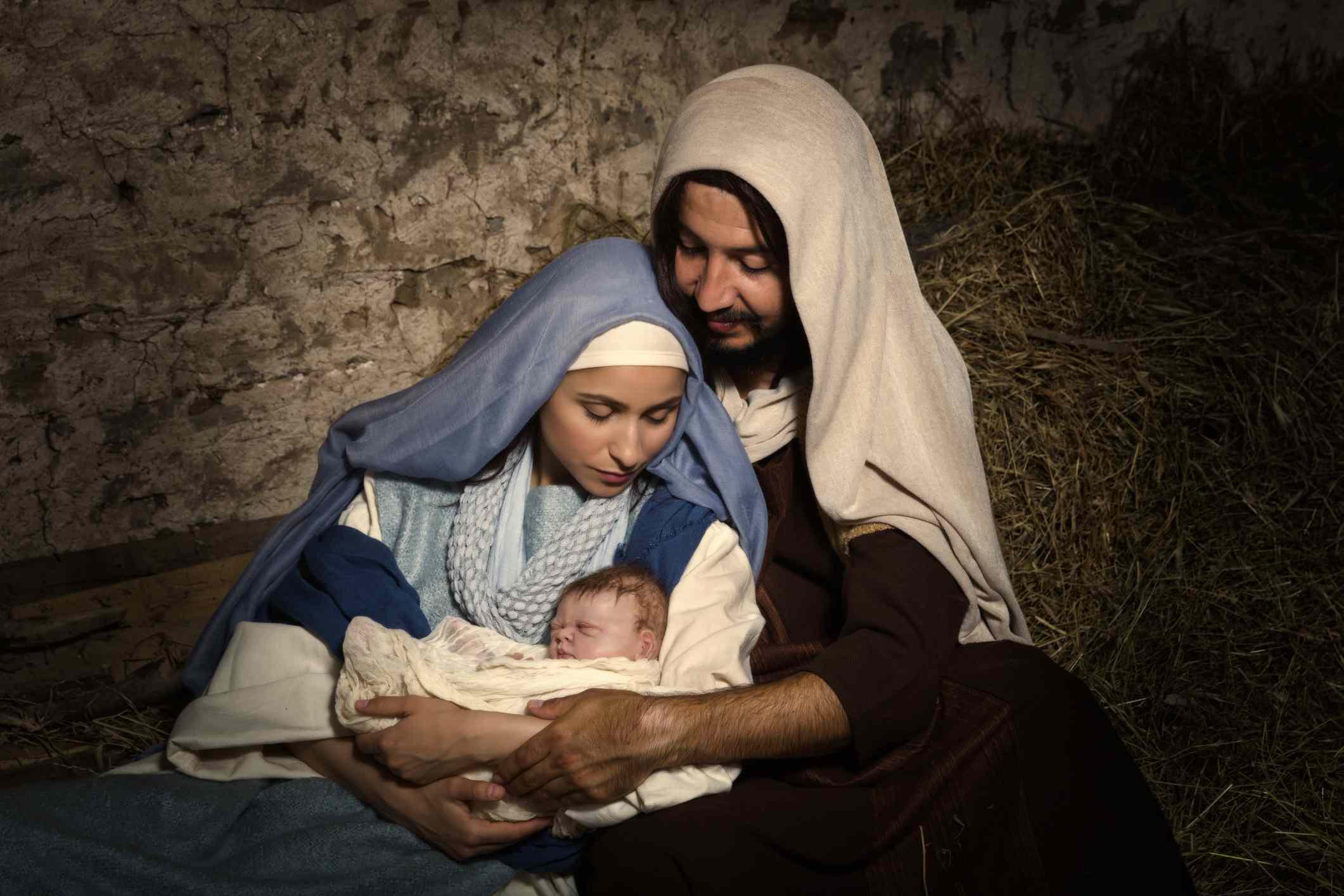 Mary, Joseph and Baby Jesus in nativity scene