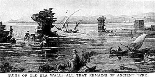 Tyre, Lebanon: Late 19th Century Illustration of the Ruins of the Old Sea Wall of Ancient Tyre