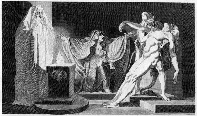 print showing King Saul, the Witch of Endor, and the reanimation of a dead body