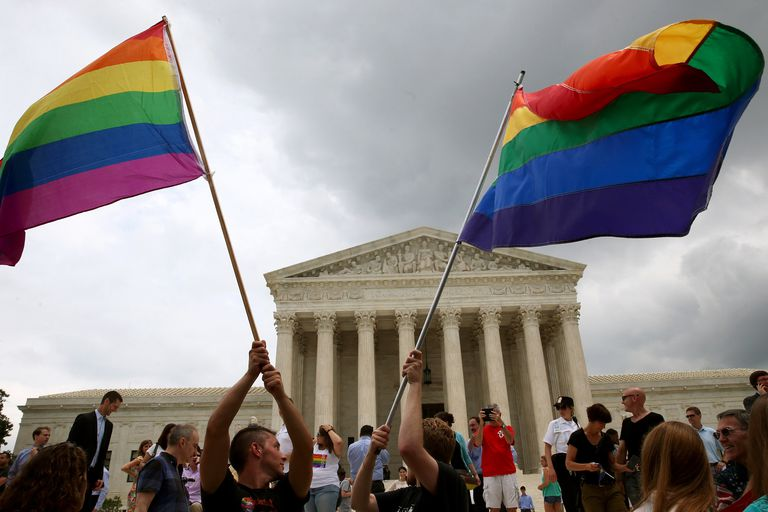 Gay marriage celebration in front of the U.S. Supreme Court