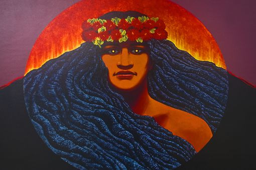 Illustration of the Hawaiian goddess Pele.