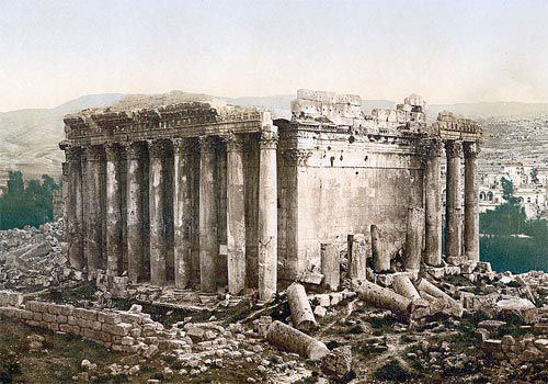 Baalbek Temple of Bacchus: Exterior of the Temple of Bacchus at Baalbek, Lebanon