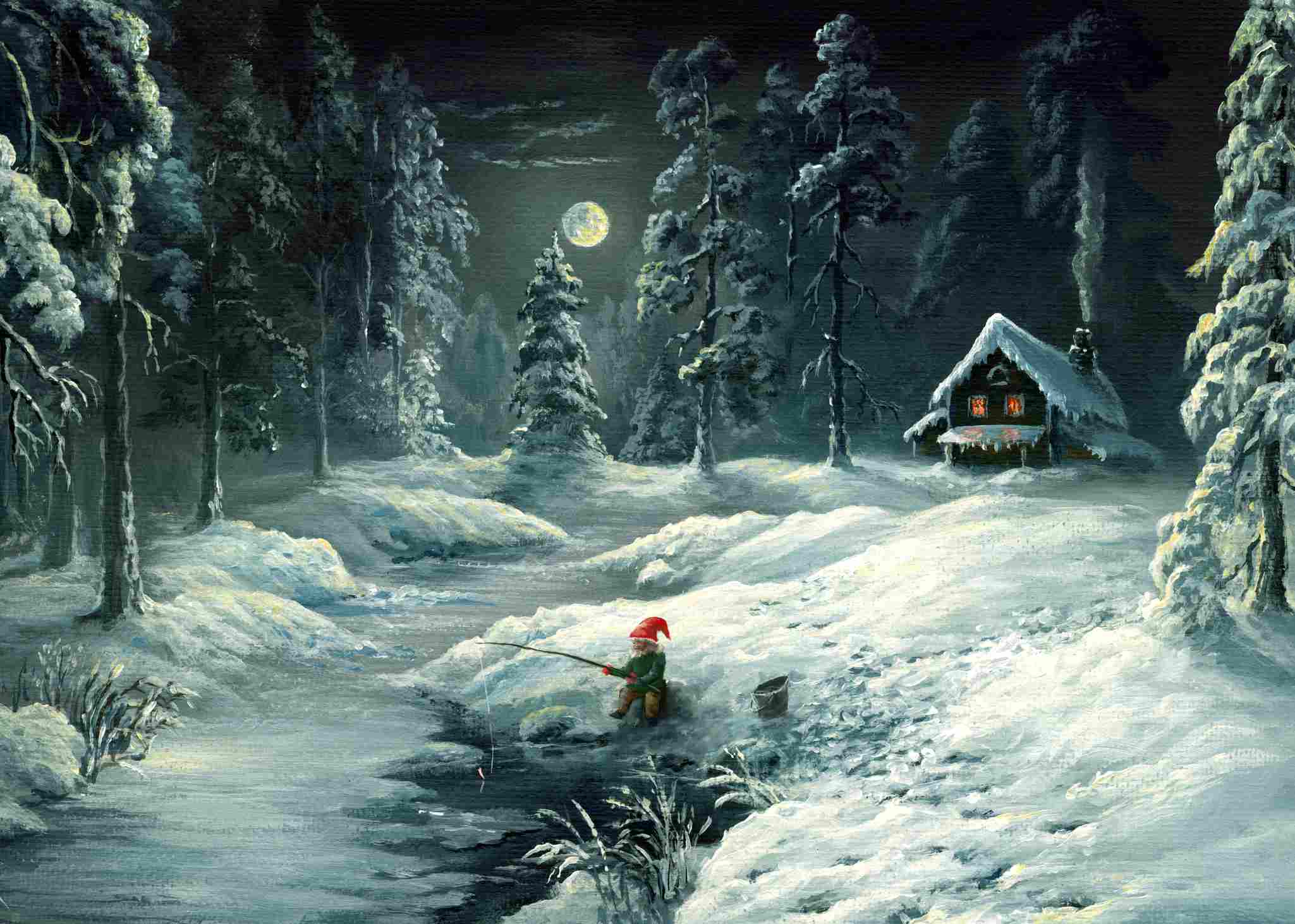 painting of an elf fishing in a river in winter