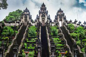 Ladders in Pura Lempuyang Luhur temple on Bali, Indonesia