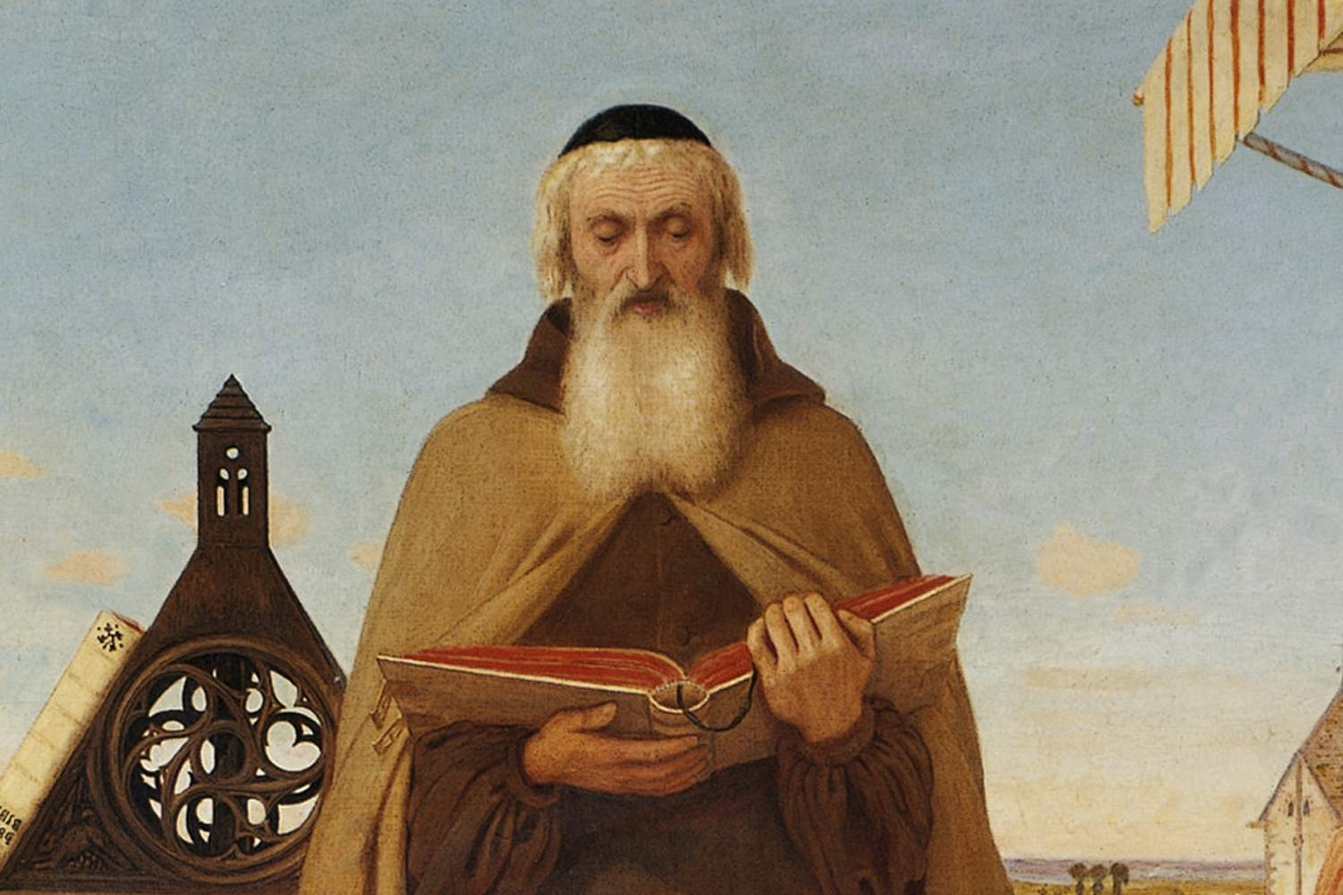 A painting of John Wycliffe (1324 to 1384) reading his translation of the Bible