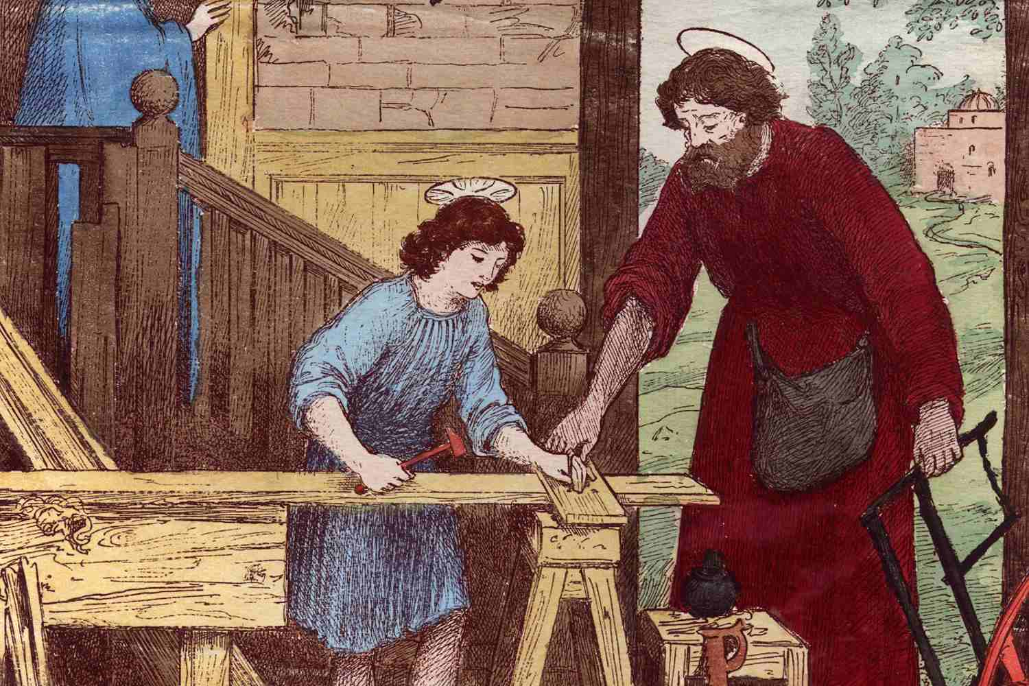 Jesus working as a boy in his Father Joseph's carpentry shop in Nazareth