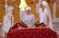 Opening the Guru Granth for Prakash