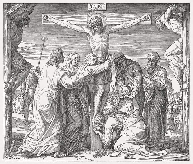 Crucifixion of Jesus, wood engraving, published in 1890