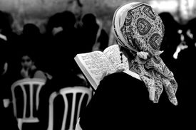 A woman at the Western Wall in Jerusalem.