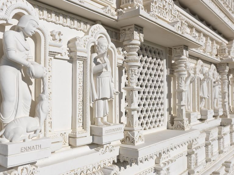 The Swaminarayan Mandir hand-carved white marble Hindu temple. Eknath and Gurunanak carvings. Toronto, Ontario, Canada.